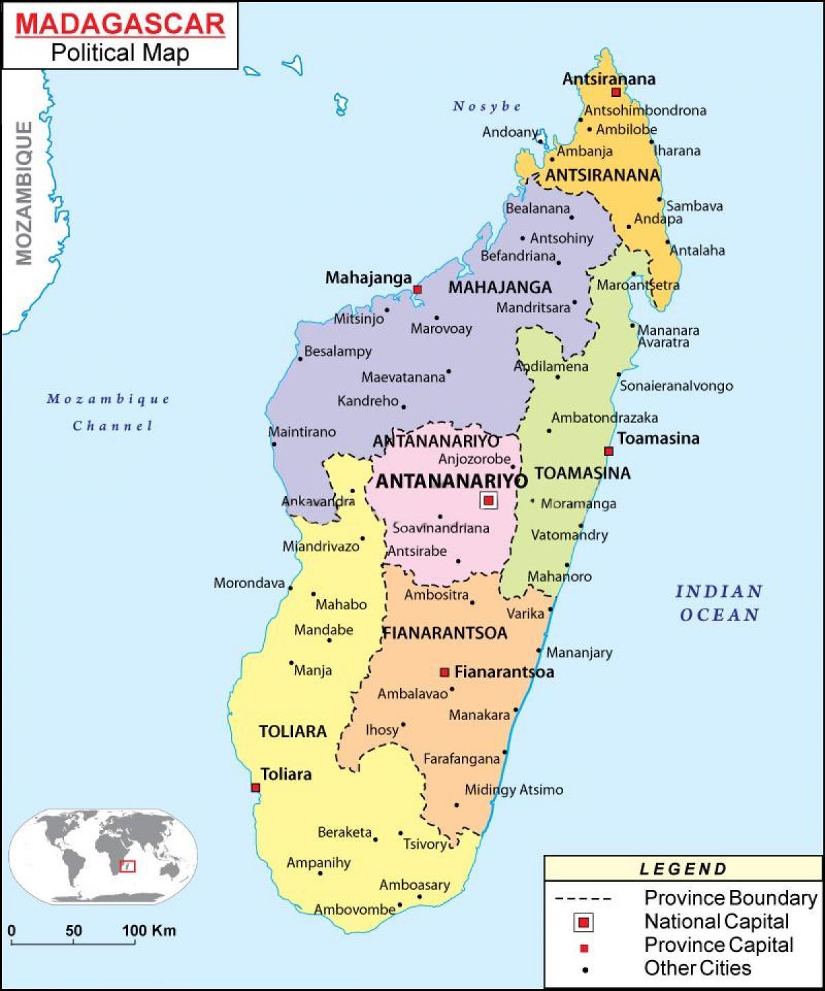 Harta Politică Din Madagascar Harta De Harta Politică Din
